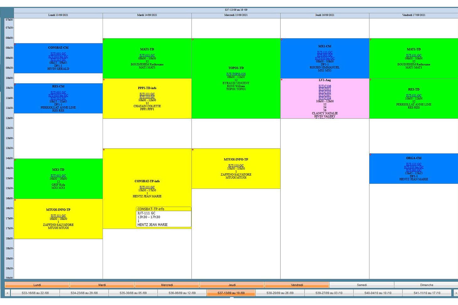 Exemple d'emploi du temps en B.U.T. 1 de Génie Civil-Construction Durable.